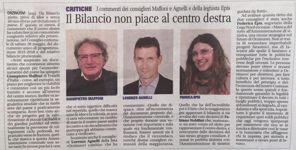 Maffoni, Agnelli, Epis sul Bilancio comunale 2016