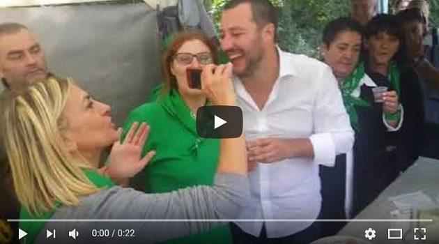 Momenti di gioia con Matteo Salvini a Pontida 2017